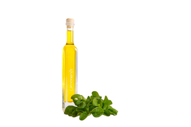 Professionelle Produktfotoghrafie Limonenöl mit Feldsalat