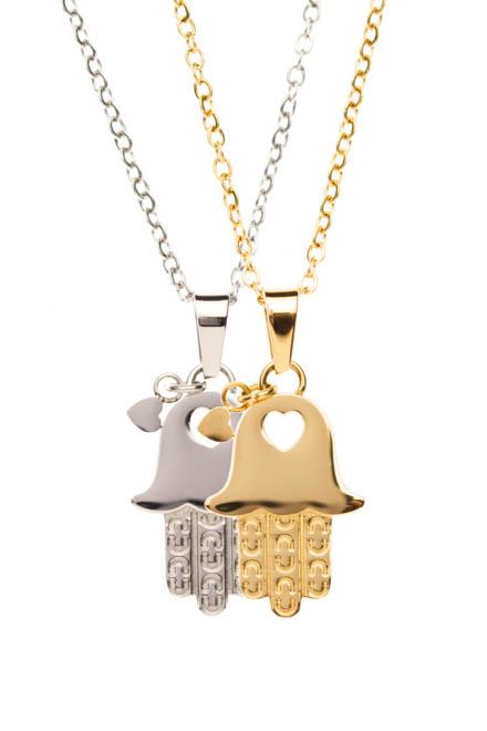 Setbild Damenhalskette in gold und silber Qualle mit Herz
